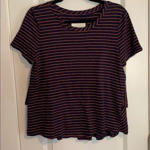 Anthropologie Navy & Red Striped Ruffle Back Tee